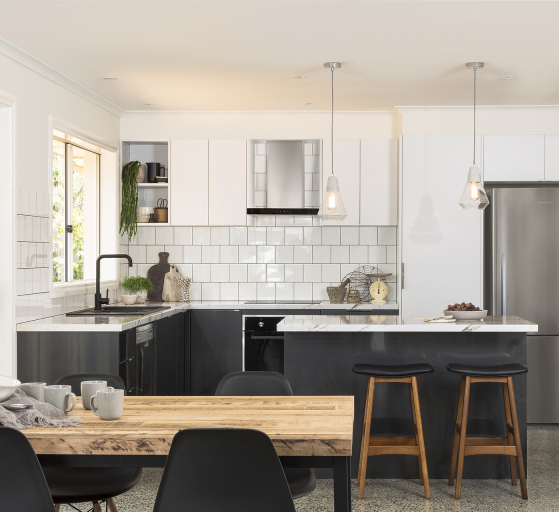 Open plan kitchen with island