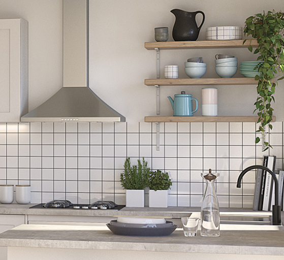 spacious kitchen with subway tile splashback and open shelving
