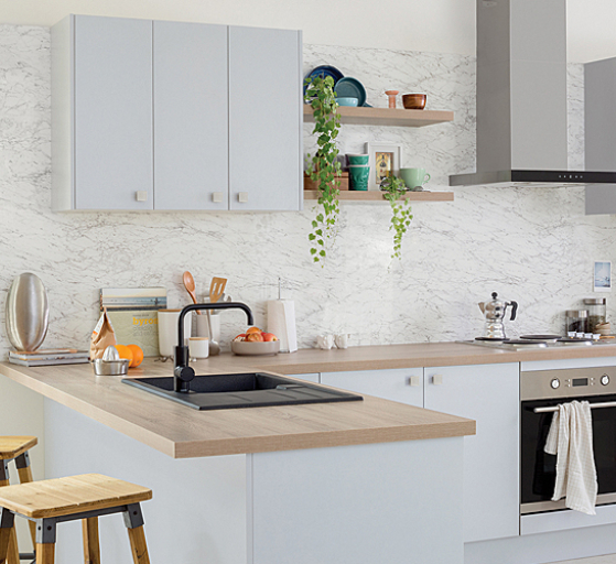 flat pack kitchens design blog - using timber or bamboo benchtops to create shelves