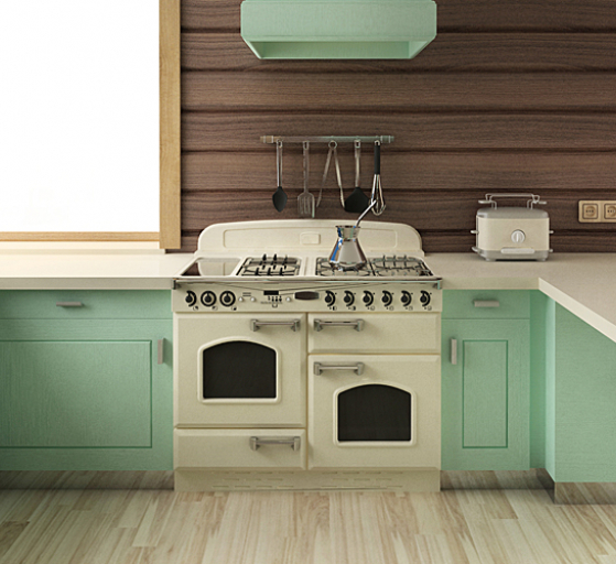 personalised rental kitchen with painted doors