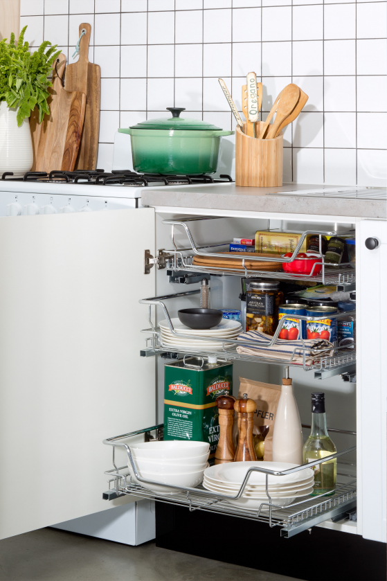 flat pack kitchen gallery - industrial elegance storage wire basket