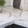 kaboodle kitchen benchtop calcutta gloss close up