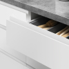 J-pull open drawer achieving the handle-less look