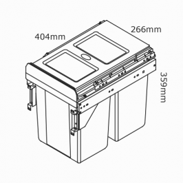 kaboodle kitchen 2 x 11 side mount pullout bin