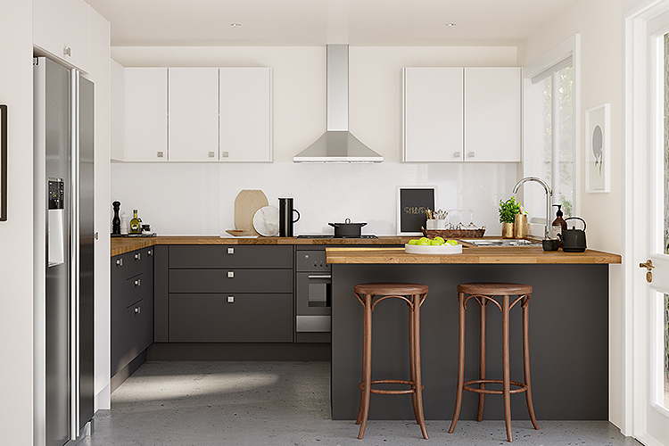 two tone kitchen, dark base cabinets and white wall cabinets
