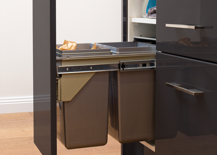 diy kitchens project management - waste bin storage options