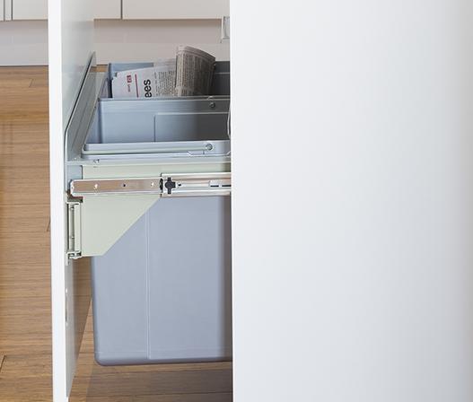 kaboodle kitchen 2 x 27L side mount pullout bin AU detail