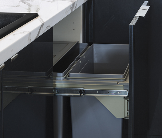 kaboodle kitchen 2 x 31L side mount pullout bin AU detail