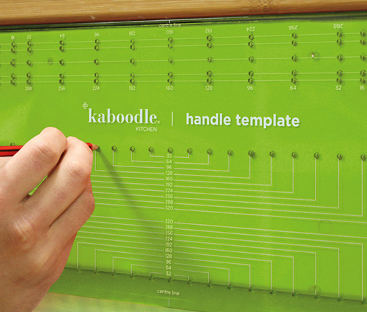 kaboodle kitchen handle drilling template in use