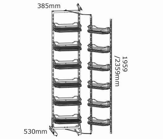 450mm Pantry Pullout Baskets 6 Tier Kaboodle Kitchen