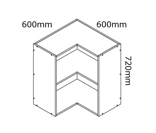 600mm Corner Wall Cabinet Kaboodle Kitchen