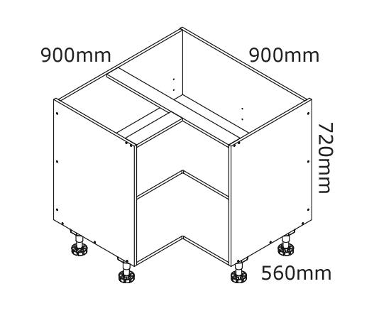 900mm Corner Base Cabinet Kaboodle Kitchen