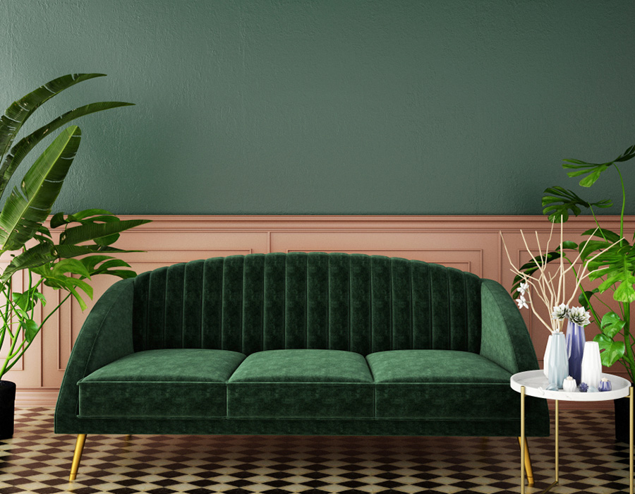 rich shade of green for this wall and sofa