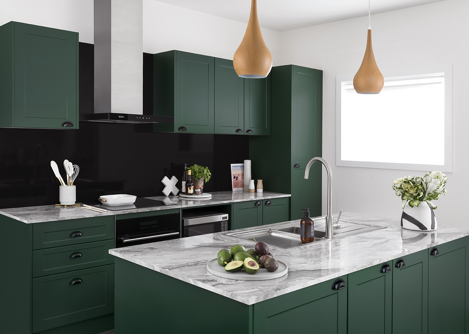 exciting green kitchens white cabinets | new trends kitchen colours | kaboodle kitchen