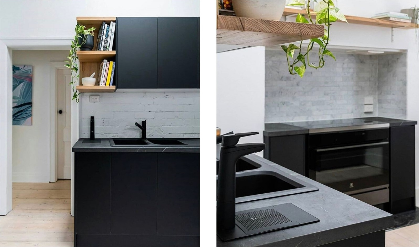 black kitchen with timber shelves