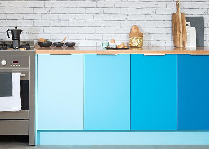 painted blue colour kitchen cabinet doors