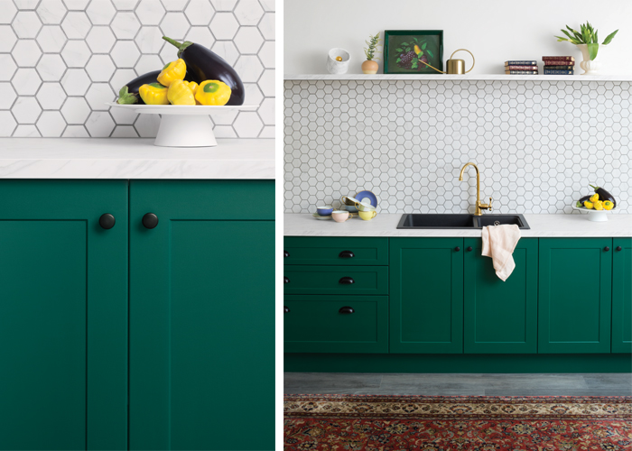 flat pack kitchens design blog  - kitchen colour trends royal green