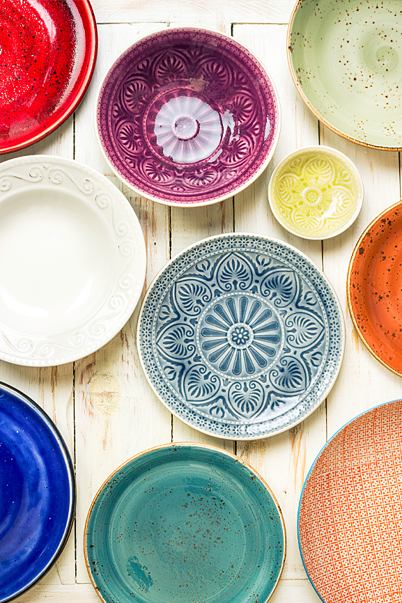 flat pack kitchens design blog  - how to add a little boho into your kitchen coloured plates