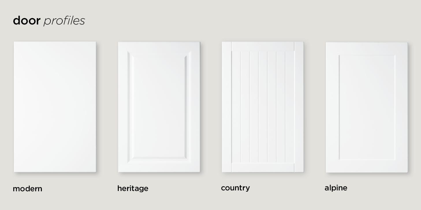 kitchen door profiles modern, heritage, country, alpine