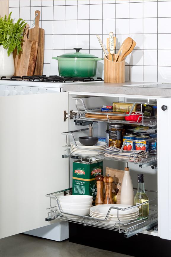 diy kitchens project management - wire basket kitchen storage options